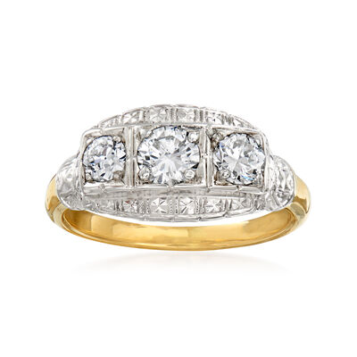 C. 1950 Vintage .85 ct. t.w. Diamond Three-Stone Ring in 14kt Two-Tone Gold