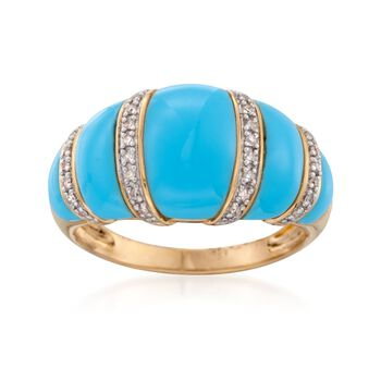 Turquoise and .10 ct. t.w. Diamond Dome Ring in 18kt Gold Over Sterling, , default