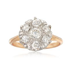 C. 1970 Vintage .80 ct. t.w. Diamond Cluster Ring in Platinum and 18kt Gold, , default
