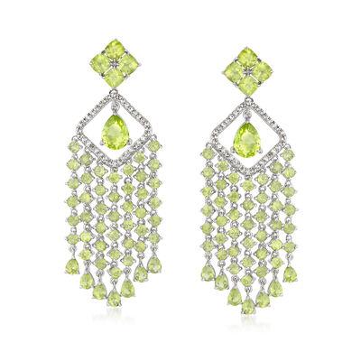 11.10 ct. t.w. Peridot and .50 ct. t.w. White Zircon Chandelier Drop Earrings in Sterling Silver, , default