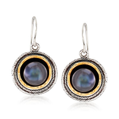 9.5-10mm Black Cultured Pearl Drop Earrings in Sterling Silver and 14kt Yellow Gold, , default