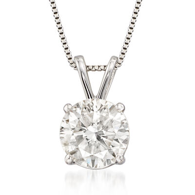1.50 Carat Diamond Solitaire Pendant Necklace in Platinum, , default