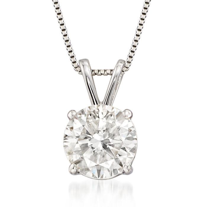 1.50 Carat Diamond Solitaire Pendant Necklace in Platinum, , default