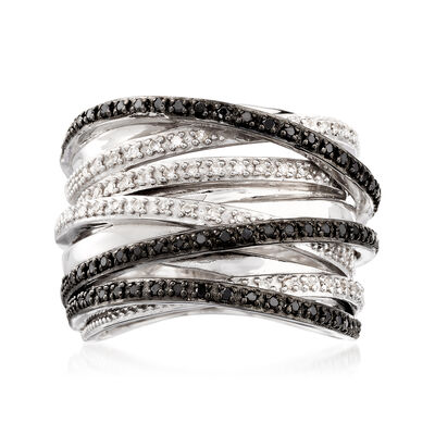 .30 ct. t.w. Black and White Diamond Highway Ring in Sterling Silver, , default