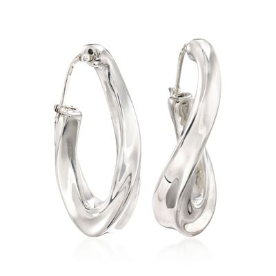 Italian Sterling Silver Twisted Hoop Earrings