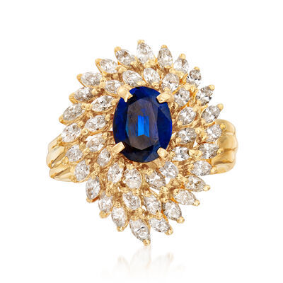 C. 1980 Vintage 1.55 ct. t.w. Diamond and 1.05 Carat Sapphire Ring in 18kt Yellow Gold