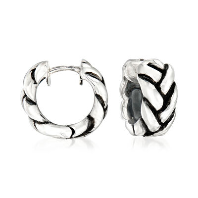 Zina Sterling Silver Braid Huggie Hoop Earrings, , default