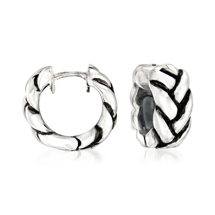 "Zina Sterling Silver Braid Huggie Hoop Earrings. 1/2"", , default"