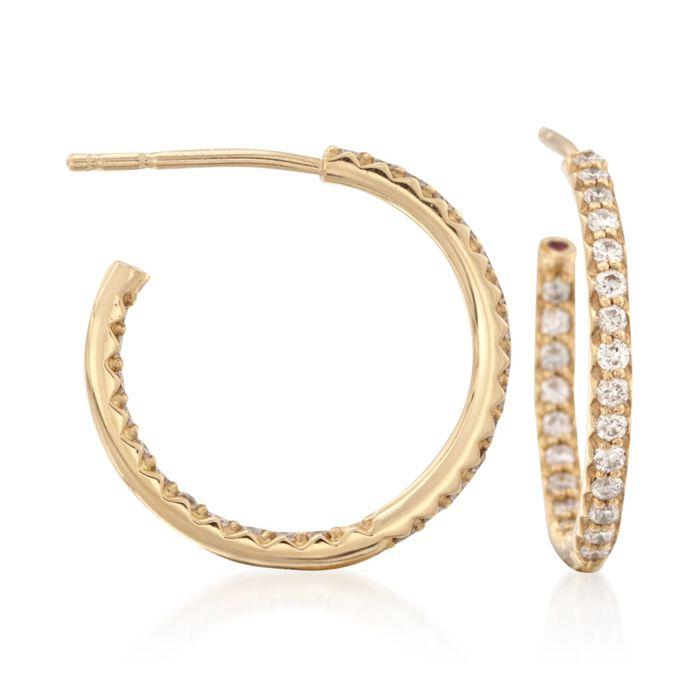 "Roberto Coin .52 ct. t.w. Diamond Hoop Earrings in 18kt Yellow Gold. 5/8"", , default"
