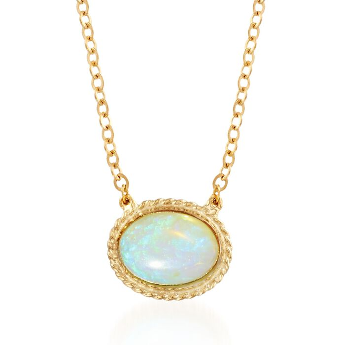 Oval Opal Roped Frame Necklace in 14kt Yellow Gold