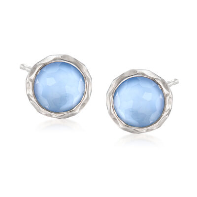 C. 2000 Vintage Blue Rock Crystal Earrings in Sterling Silver, , default