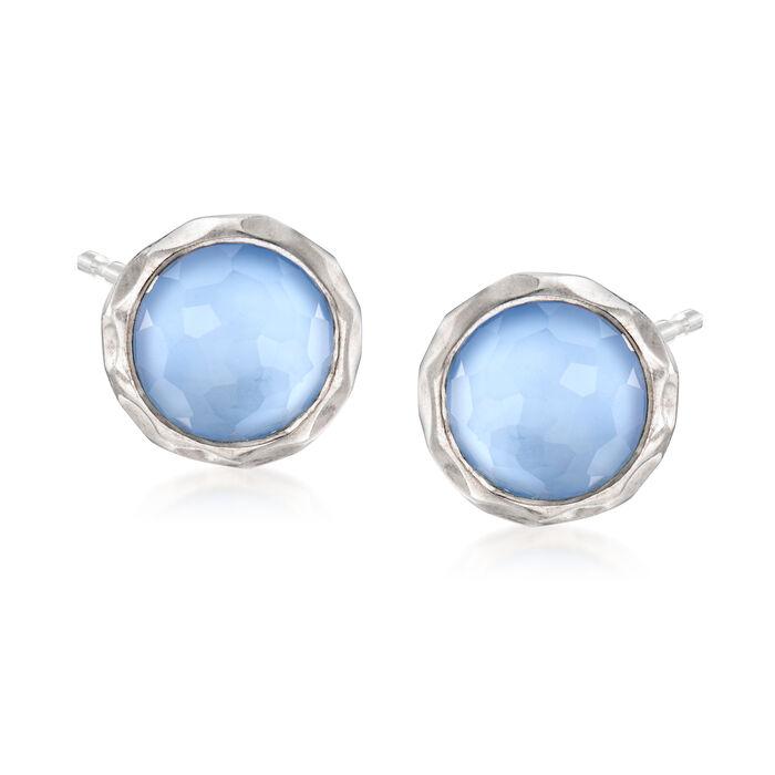 C. 2000 Vintage Ippolita Blue Rock Crystal Earrings in Sterling Silver, , default
