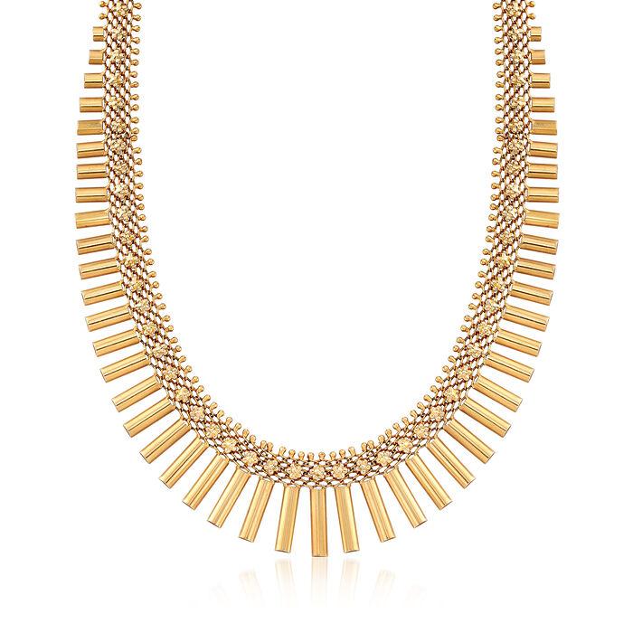 "C. 1940 Vintage 14kt Yellow Gold Bar Necklace. 16"", , default"