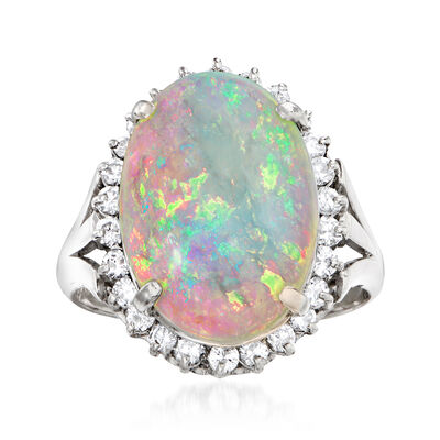 C. 1980 Vintage Opal and .50 ct. t.w. Diamond Ring in Platinum