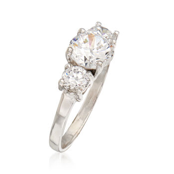 C. 1990 Vintage 1.60 ct. t.w. CZ Three-Stone Ring in 14kt White Gold. Size 5, , default