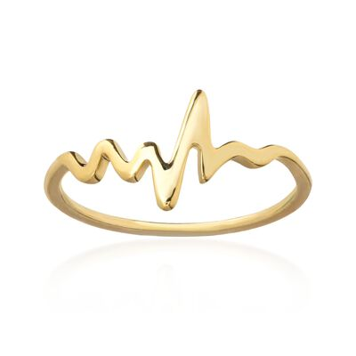 14kt Yellow Gold Heartbeat Ring, , default