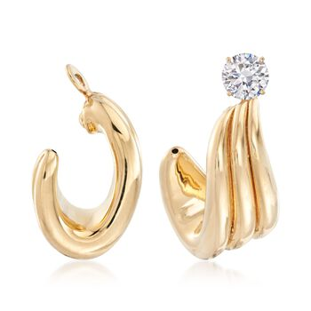 14kt Yellow Gold Wavy Curved Drop Earring Jackets, , default
