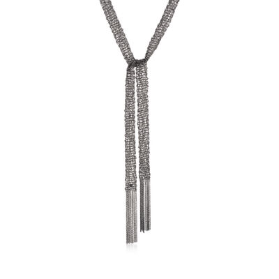 Italian Gunmetal Sterling Silver Mesh Tie Necklace, , default