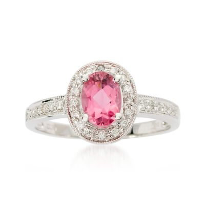 .75 ct. t.w. Pink Tourmaline and .10 ct. t.w. Diamond Ring in 14kt White Gold, , default
