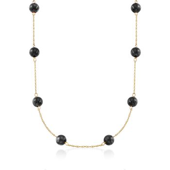 """Black Onyx Bead Station Necklace in 14kt Yellow Gold. 18"""", , default"""