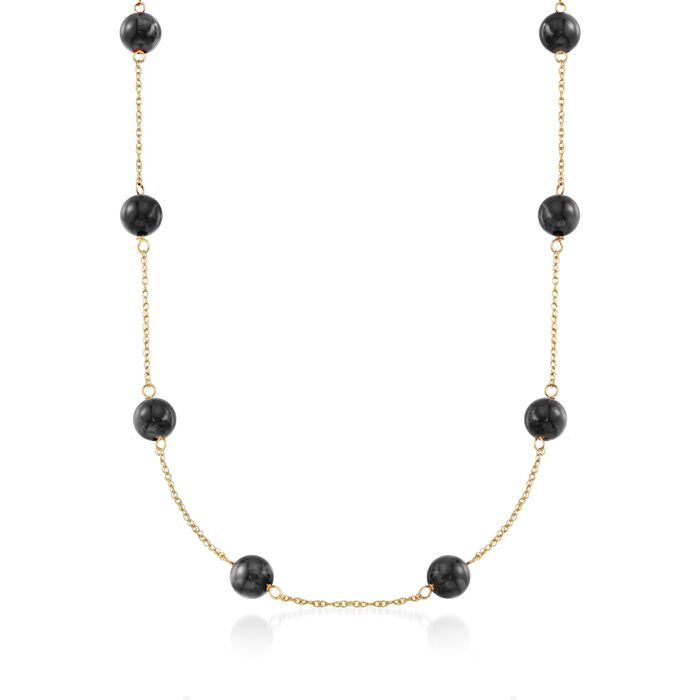 "Black Onyx Bead Station Necklace in 14kt Yellow Gold. 18"", , default"