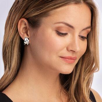 "Belle Etoile ""Moonflower"" Black Enamel and Mother-Of-Pearl Hoop Earrings with .10 ct. t.w. CZ in Sterling Silver. 5/8"""