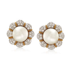 C. 1980 Vintage 14mm Cultured South Sea Pearl and 6.00 ct. t.w. Diamond Flower Clip-On Earrings in 18kt Yellow Gold , , default