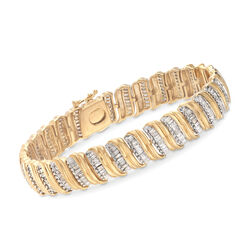 4.50 ct. t.w. Diamond Vertical Row Bracelet in 18kt Yellow Gold Over Sterling, , default