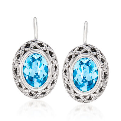 "Andrea Candela ""Rioja"" 3.30 ct. t.w. Blue Topaz Drop Earrings in Sterling Silver"
