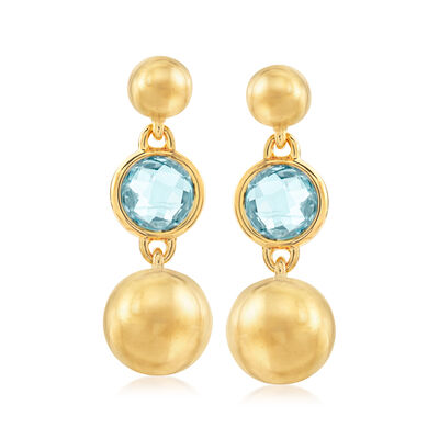 Italian Andiamo 11.00 ct. t.w. Swiss Blue Topaz 14kt Yellow Gold Drop Earrings
