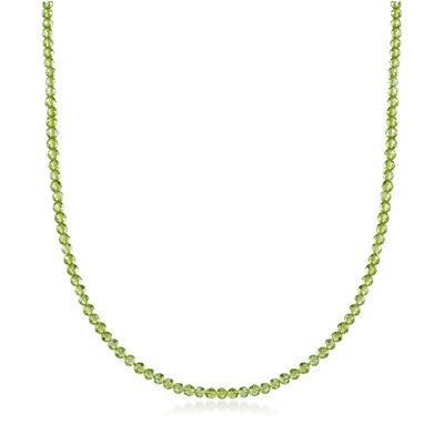 C. 1990 Vintage Tiffany Jewelry Peridot Beaded Necklace in Sterling Silver, , default