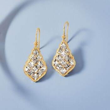 14kt Two-Tone Gold Diamond-Cut Drop Earrings, , default