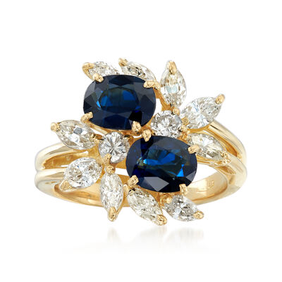 C. 1990 Vintage 2.10 ct. t.w. Sapphire and 1.00 ct. t.w. Diamond Ring in 18kt Yellow Gold, , default
