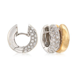 C. 1990 Vintage 1.65 ct. t.w. Diamond and 14kt Two-Tone Gold Double-Row Huggie Hoop Earrings, , default