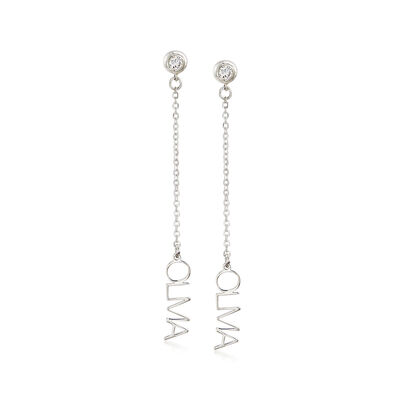 Sterling Silver Horizontal Personalized Drop Earrings with CZ Accents, , default