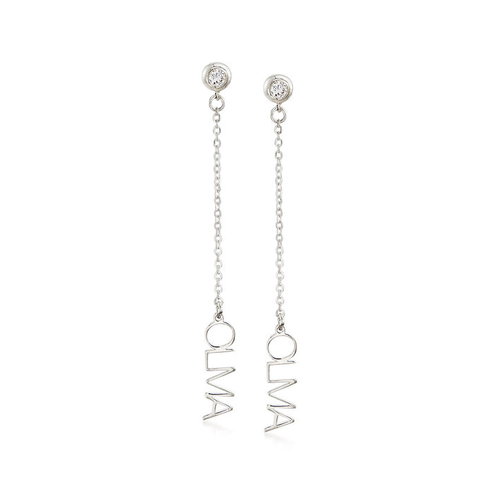 Sterling Silver Horizontal Personalized Drop Earrings with CZ Accents