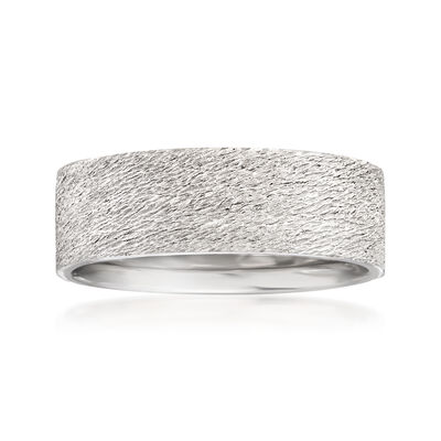 Men's 7mm 14kt White Gold Sand Textured Wedding Band