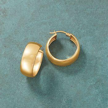 "18kt Gold Over Sterling Wide Hoop Earrings. 1"", , default"