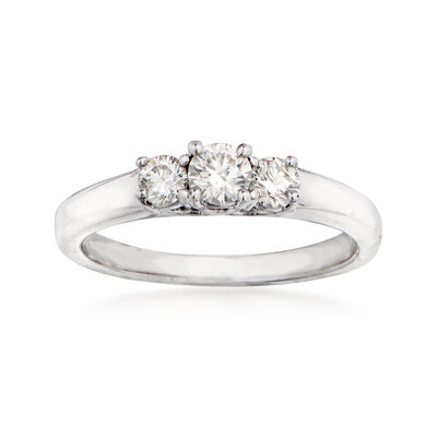 .50 ct. t.w. Ideal-Cut Diamond Three-Stone Ring in 14kt White Gold, , default