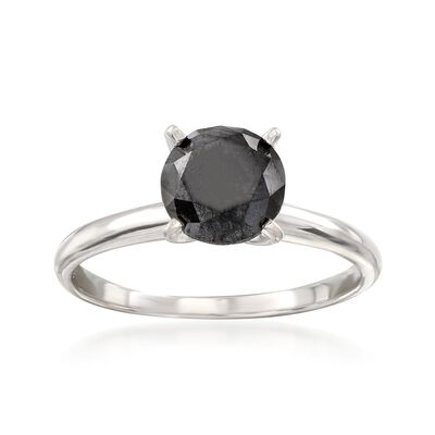 1.50 Carat Black Diamond Solitaire Ring in 14kt White Gold, , default