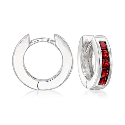 1.00 ct. t.w. Garnet Huggie Hoop Earrings in Sterling Silver