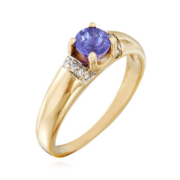 C. 1980 Vintage .55 Carat Tanzanite Ring with Diamond Accents in 14kt Yellow Gold. Size 7, , default