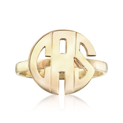 Circular Block Monogram Ring in 14kt Yellow Gold, , default