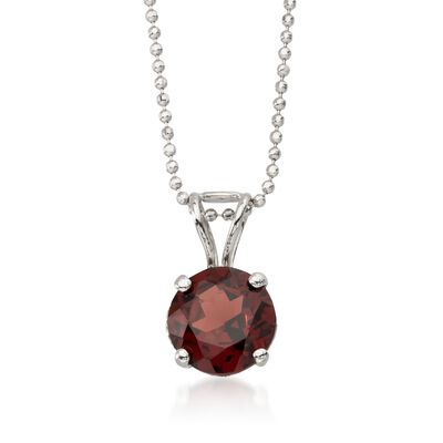 2.50 Carat Garnet Solitaire Necklace in 14kt White Gold