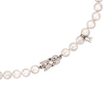 Mikimoto 7-7.5mm Grade 'A' Akoya Pearl Necklace in 18kt White Gold. 16""