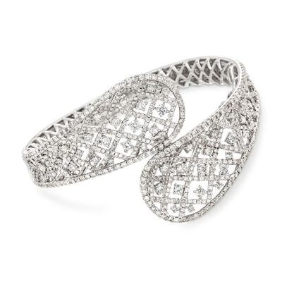 8.97 ct. t.w. Diamond Bypass Bangle Bracelet in 18kt White Gold