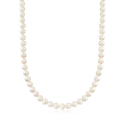 8-8.5mm Cultured Pearl and .40 ct. t.w. White Topaz Necklace in Sterling Silver, , default