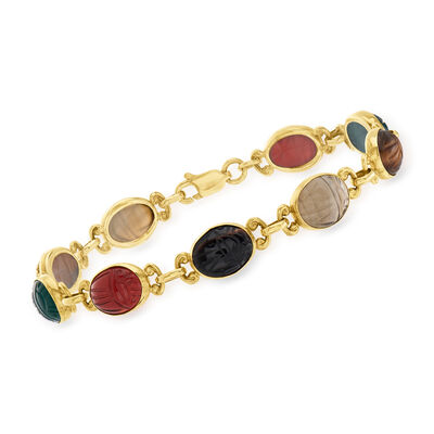 C. 1970 Vintage Multi-Gemstone Scarab Bracelet in 14kt Yellow Gold