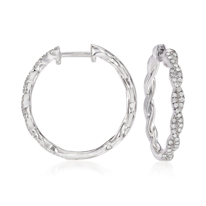 .25 ct. t.w. Diamond Twisted Hoop Earrings in Sterling Silver
