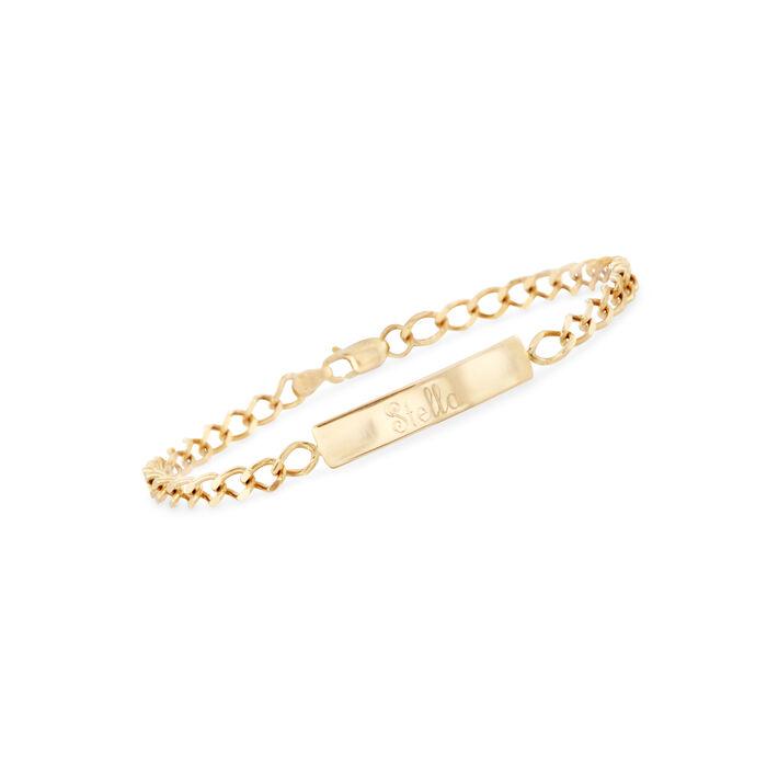 "Child's 14kt Yellow Gold Name ID Bracelet. 6"", , default"